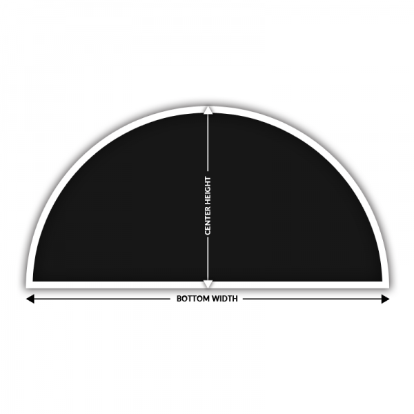 half circle arch solar screen measurement